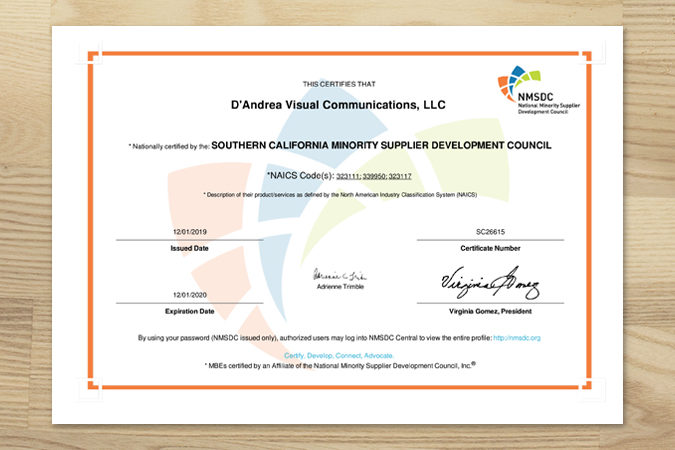 D'Andrea Visual Minority Certificate