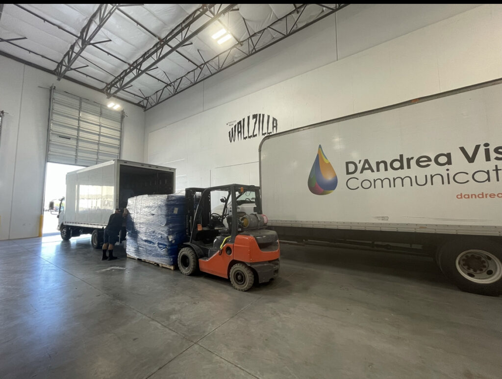 Loading a truck of donations.