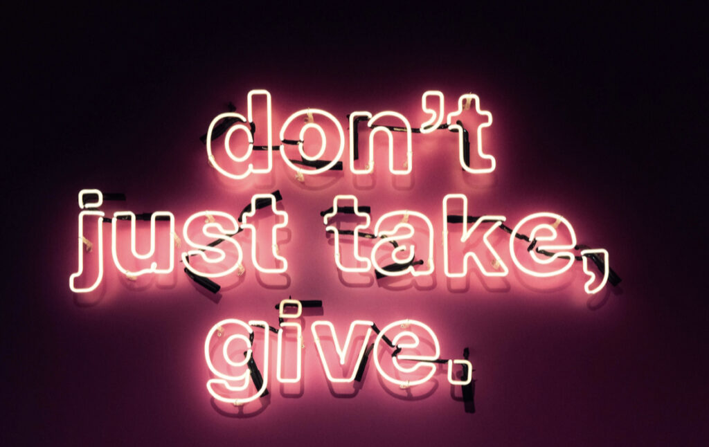 Dont just take, give. Donation